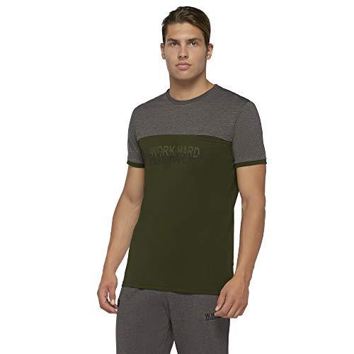 Macron Warsaw T-Shirt pour Homme, Gris foncé/Vert, 2XL