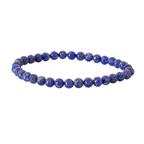 Garaulion Bracelet Pierre Précieuse Naturelle 6mm Lapis Lazuli Bijoux Perles Boule Homme Femme Couple,Cadeau Papa Maman,(Lapis-Lazuli)