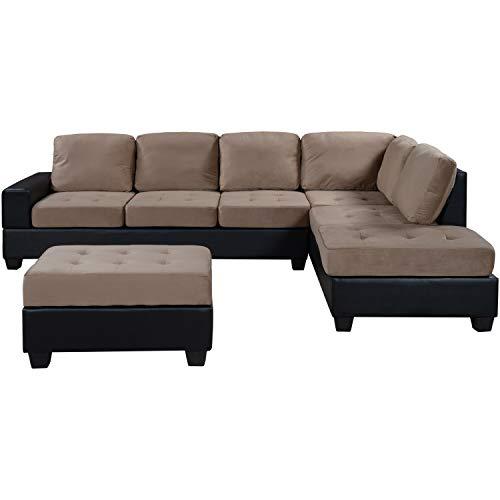 Yunbai Conjuntos de sofás para sala de estar Sofá con forma de sofá Convertible Sofá convertible Sofá convertible con almacenamiento Puesto de reposapiés Dos titulares de la taza de sala de estar para