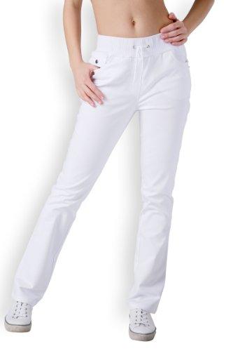 CLINIC DRESS Hose für Damen 5-Pocket mit Strickbund weiß 42
