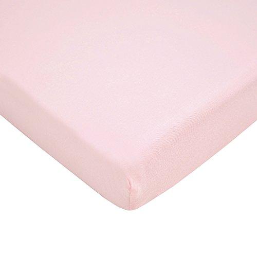TL Care 100% algodão natural, malha de jérsei ajustável, portátil, mini lençol de berço, rosa, macio respirável, para meninas, 61 x 96 cm