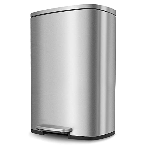Pirecart 13.2 Gallon Trash Can, Stainless Steel Garbage Bin with Lid, Silent Gentle Open and Close Dustbin with Durable Pedal, Inner Bucket, for Kitchen Bathroom Livingroom Home Office ,Silver(50L)