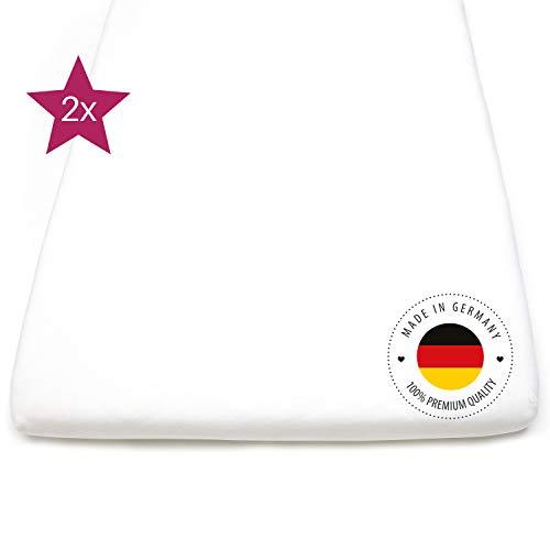 kids&me 2x schadstoffgeprüfte Bettlaken 40x90 bis 90x55cm - gesunder Babyschlaf in Beistellbett, Wiege & Stubenwagen – Spannbettlaken Made in Germany, ÖKO-TEX zertifiziert