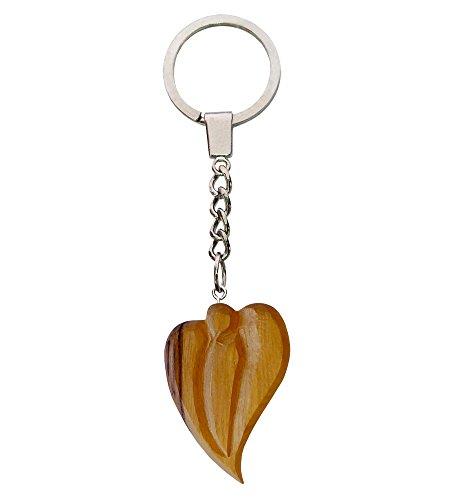 Chunky Heart Shaped Olive Wood Keyring