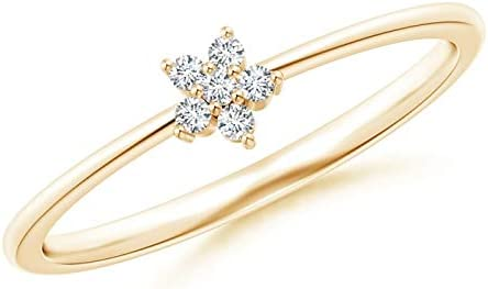 0.24 Carat Natural Diamond Round Cut Floral Design Ring Prong Setting For Women In 10KT Solid Gold For Wedding Engagement Anniversary ( Clarity I1-I2 , Color HI)