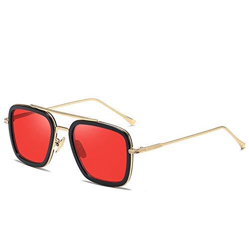 WOXING Retro Hombre Gafas,Vintage Mujer Gafas,Aire Libre Deportes Viajes Conducir Gafas,Metal Ligeras Rectangulares Vintage Gafas De Sol-G 15.3x5.2cm(6x2inch)