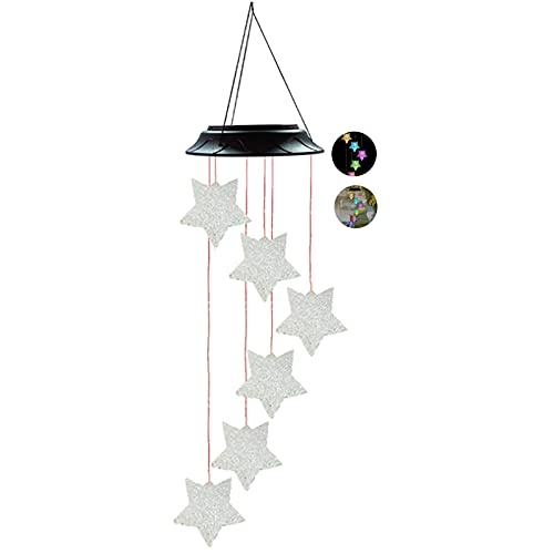 TTWLJJ Campanilla de Viento Solar LED Wind Chimes,Carrillon de Viento Exterior,para Jardin, arbol, casa de Madera,Decoracion casa,F