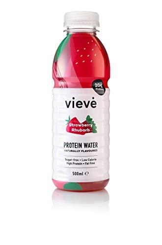 Vieve Protein Wasser 6x500ml - Erdbeere & Rhabarber | Die Alternative zum Eiweiß Pulver Shake | 20g Eiweiß, Zuckerfrei, Fettfrei & Laktosefrei | 6er Packung