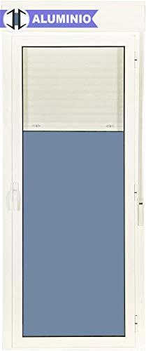 Puerta Balconera Aluminio Practicable Derecha Con Persiana PVC 880 ancho x 2185 alto 1 hoja (guías y cajón persiana en kit)