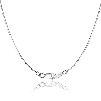 Jewlpire 925 Sterling Silver Chain 0.8mm Box Chain Lobster Claw Clasp - Italian Necklace Chain - Super Thin & Strong - Friendly Price & Quality 16/18/20/22/24 Inch