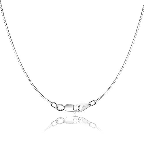 Jewlpire 925 Sterling Silver Chain for Women Girls 0.8mm Box Chain Lobster Claw Clasp - Italian Necklace Chain - Super Thin & Strong - Friendly Price & Quality 18 Inch