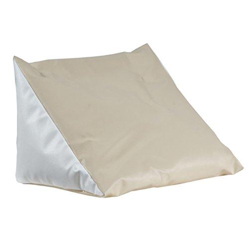 Lesekissen beige-weiß Rückenstütze aus Kunstleder für Bett; Couch, Fernsehen, Rückenkissen für bequemes sitzen, Keil- Nackenkissen mit Schaumstoffflocken