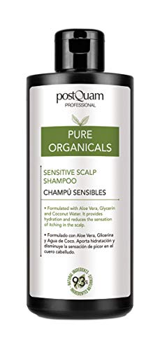 PostQuam Organicals - Champu Cuero Cabelludo Sensible | Champu Suave - Aloe Vera, Glicerina, Agua de Coco - 93% Ingredientes Naturales, 400 ml