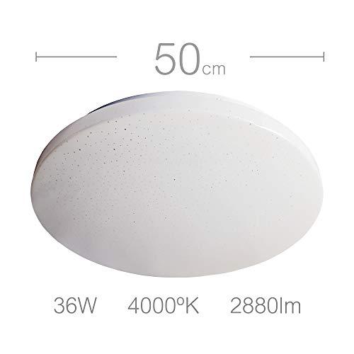 Plafón LED grande (50 cm) redondo, 36W (equivalente a 240W), Blanco Neutro