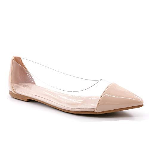 Angkorly - Damen Schuhe Ballerina - Flache - Slip-On - BCBG - Lackiert - transparent PVC Plexiglas - Kunststoff Blockabsatz 1 cm - Beige LX-58 T 39