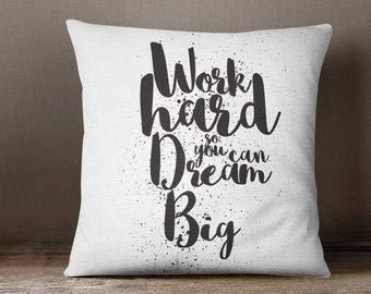 Funda de almohada con palabras, funda de almohada personalizada, motivación, funda de cojín para interiores, funda de almohada moderna de 18 pulgadas, regalo para adolescentes, adolescentes, decoración del hogar