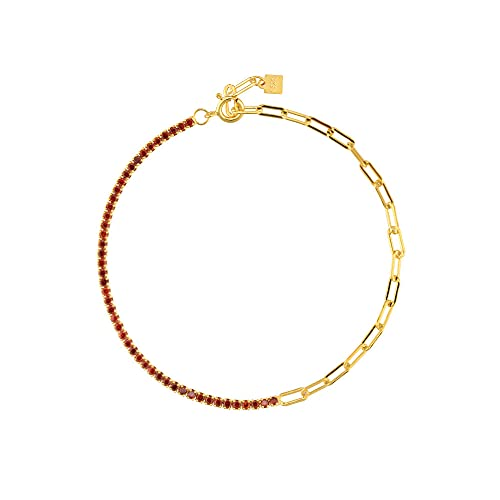 Pulsera de cadena de circonita arcoíris de plata 925 para mujer, bonita joyería de moda Rock Punk, regalo colorido y colorido, pulsera roja de 18 cm