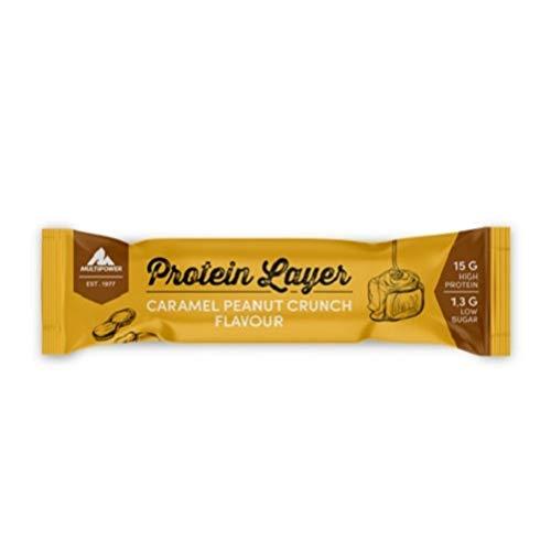 Multipower Power Layer Bar Energieriegel mit 30 % Protein (Whey/Casein) - 18 Fitnessriegel à 50 g - Protein Riegel als Sport-Snack - Erdnuss-Karamel - kalorienarmer & ballastoffreicher Eiweißriegel