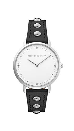 Rebecca Minkoff Women's Stainless Steel Quartz Watch with Leather Calfskin Strap, Black, 16 (Model: 2200320)
