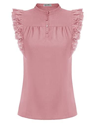 GRACE KARIN Damen Tops Steampunk Victorian Bluse Stehkragen ärmellos Glatter Oberteile Hemd 2XL Hellrosa CL93-3