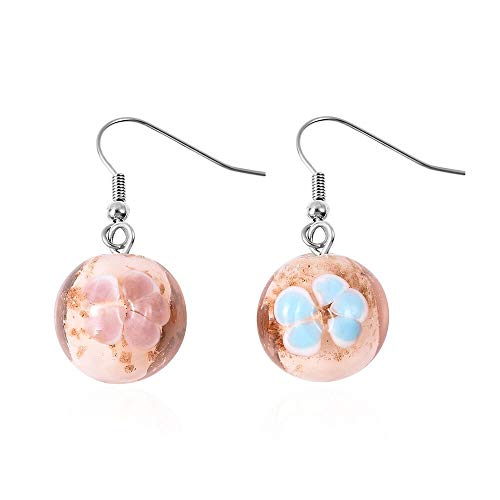 TJC Pink Colour Murano Glass Drop Hook Earrings in Stainless Steel for Women and Girls