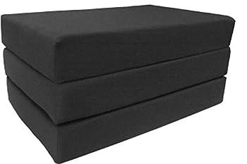 D&D Futon Furniture Black Full Size Shikibuton Trifold Foam Beds 6 x 54 x 75 High Density Resilient White Foam 1.8 lbs Floor Foam Folding Mats.