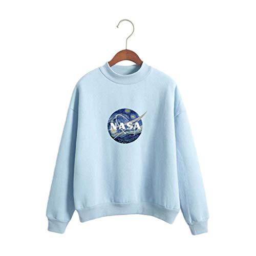 Damen NASA Langarmshirt Rundhals Sweatshirt Mädchen Frauen Locker Tops Shirt Pullover Oberteil College Jumper Pulli Sport Bluse (M, blau)