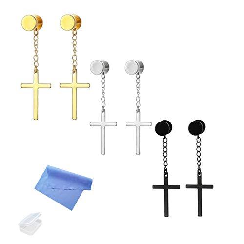 XHBTS 6 piezas de pendientes de cruz colgantes de acero inoxidable para hombres y mujeres, color negro, plata y oro para mujeres y hombres, con mini gamuza y minicua.