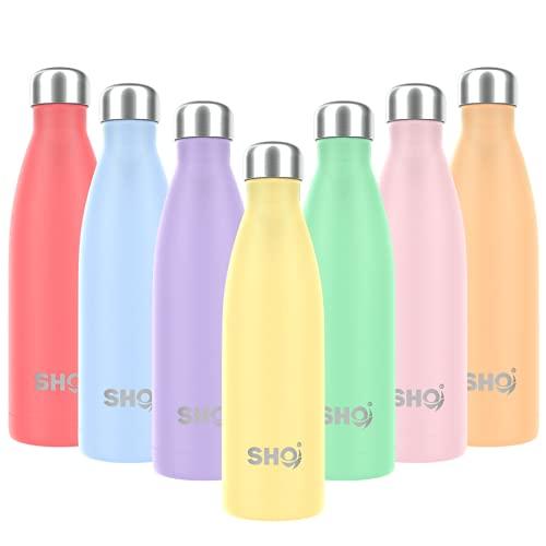 SHO Bottle - Botella de agua de acero inoxidable con doble pared aislada al vacío, botella de agua y bebidas – 24 horas frío y 12 caliente – Termo de vacío deportivo sin BPA (500 ml