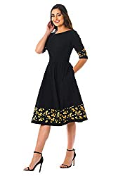 Madhav fashion Casual solid fit and flare knee length dress for women skater dress printed one piece short