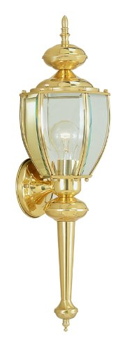 Livex Lighting 2112-02 Outdoor Wall Lantern with Clear Beveled Glass Shades, Polished Brass