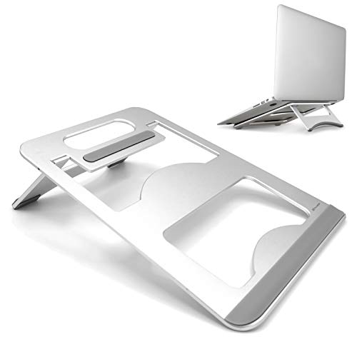 TecHERE Laptop Stand Aluminium Notebook PC Stand Foldable for MacBook Air/PRO, HP, Lenovo with Display Up to 15.6 Inches, Silver
