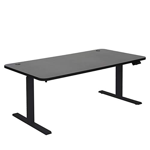 Mendler Schreibtisch HWC-D40, Bürotisch Computertisch, elektrisch höhenverstellbar Memory 160x80cm 53kg ~ schwarz, schwarz