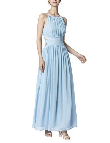 APART Damen Abendkleid aus zartem Chiffon, hellblau, 40
