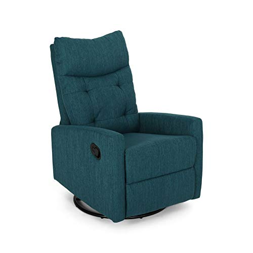 Christopher Knight Home Ishtar Glider Swivel Push Back Nursery Recliner, Teal, Black