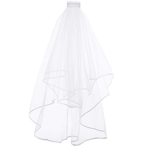 REDSTAR Ladies White 2 Tier Wedding Veil For Bride To Be Hen Night Novelty Fun Fancy Dress Accessories Bridal Veil Tulle Simple Ribbon Edge With Comb Hen Party