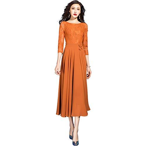 BINGQZ Cocktailjurken Zomer temperament Slim oranje kant stiksels jurk vrouw zomer