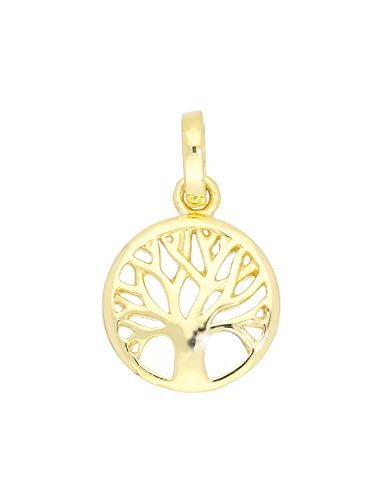 MyGold Lebensbaum Anhänger Gelbgold 375 Gold (9 Karat) Rund Ø 10 mm Mini Baum Goldanhänger Kettenanhänger Botany Small A-07807-G601