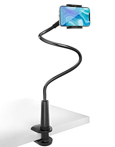 Tryone Soporte Movil Teléfono – Soporte Flexible con Brazo de Cuello de Cisne para Serie iPhone/Celulares Samsung/Huawei/Google Pixel y Más, 27.5 Pulgadas de Longitud en Total