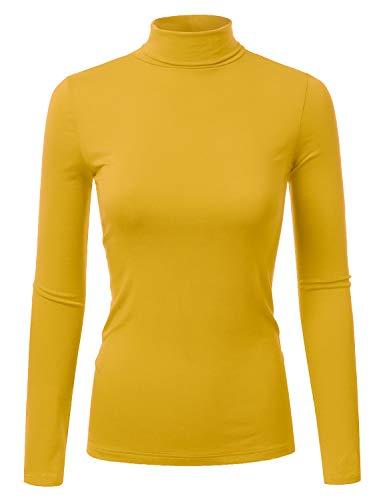 Doublju Soft Knit Turtleneck T-Shirt Top for Women with Plus Size Mustard Medium