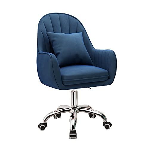 Silla de escritorio de terciopelo Silla giratoria cómoda, silla de oficina ajustable en altura con brazos Silla de trabajo giratoria de 360 ° para escritorio de computadora Tocador de dormitorio