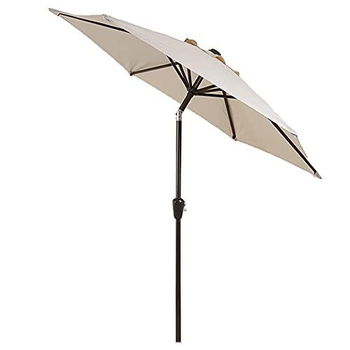 SHANJ Sombrilla de Patio de 2,25 M / 7,4 Pies,Paraguas de Mesa al Aire Libre,Sombrilla Pequeña de Mercado con Manivela y Botón de Inclinación, 8 Costillas,Azul,Verde,Beige
