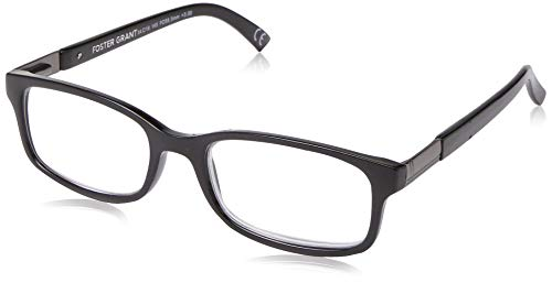 Foster Grant mens Boston Reading Glasses, Black/Transparent, 59 mm US
