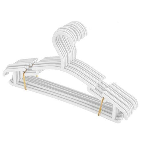 TASJS Escudo 10pcs plástico Blanco de Nursery Perchas Perchas Antideslizante bebé Ahorro de Espacio tubulares Perchas for niños Ropa de los niños