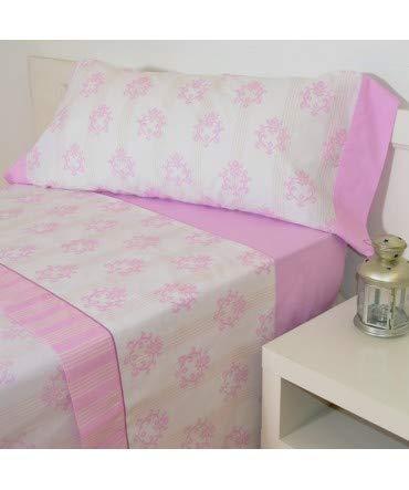 10XDIEZ Juego de sábanas Classic Rosa algodón - Medidas sabanas - 135