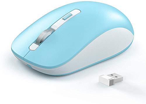 Kabellose Bluetooth-Maus Joyaccess, Triple Mode Maus ohne Kabel für Laptop(BT 5.0/3.0+2.4Ghz), leise Computer Mini Mäuse für Mac OS, PC, MacBook, Android, Windows - blau