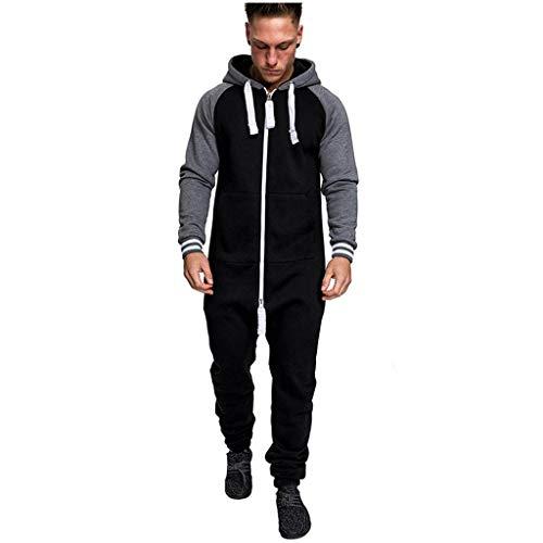 Sannysis Herren Jumpsuit Schlafanzug Jogger Trainingsanzug Fitnessbekleidung Onesie Ganzkörperanzug Basic und Schlicht Strampelanzug Overall Körperanzug