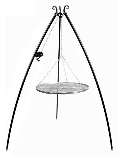 CookKing Schwenkgrill Tripod 200cm, Dreibein mit Grillrost und Rolle (Grillrost aus Edelstahl, 70 cm)