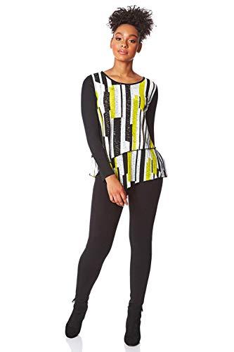 Roman Originals Damen Doppellagen-Oberteil mit Kontraststreifen - Damen Lässige Blusen, abstraktes Muster, Rundhals, Langarm, Stretch-Jersey, asymmetrisch - Limette - Größe 40