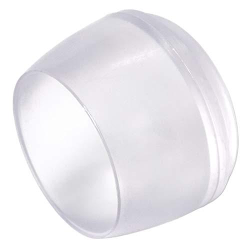 Adsamm® | 16 x Stuhlbeinkappen | Ø 22 mm | Transparent | rund | Möbelgleiter für Stahlrohrstühle